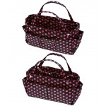 Bag Organizer - Polka Dots Print w/ Detachable Handles - Black