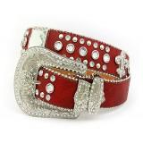 Belt - Rhinestone Leather Belt - Fleur De Lis Charms - Red Color - BLT-FDL153RD
