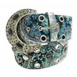 Belt - Glitter Studded w/ Jeweled Buckle - Teal Color - BLT-TO30711TL