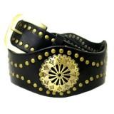 Belt -  Leather -Like Metal Studded Belt  - BLT-TO40036BK