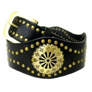 Belt -  Leather -Like Metal Studded Belt  - BLT-TO40036BK