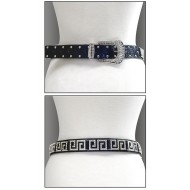 Belt - Rhinestone Leather - Like Belt - Black Color - BLT-TO40201B