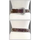 Belt - Faux Leopard Skin w/ Center Topaz Acylic Beades & Antique Brass Tone Bucklet - Brown Color - BLT-TO40173BR