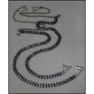 Bra Straps - Two-row Crystal Chain Strap - Black