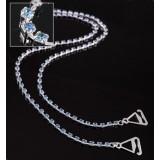 Bra Straps - Single Line Crystal Chain Strap - Blue - BS-HH19BL