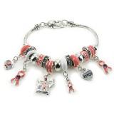 Charm Bracelet - Pink Ribbon Charms Bracelet - Pink - BR-B9639LASPNK