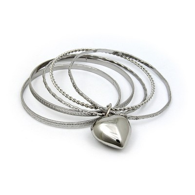 Bangle Set - Multi Metal Bangles Set w/ Heart Charm - BR-HB008B