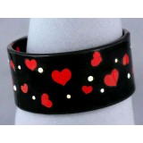 Bangle - Acrylic Bangle w/Enamel Hearts & Rhinestones Bracelets - Black - BR-OB00139BLK