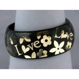 Bangle - Acrylic Bangle w/Loves &Flowers Bracelets - Black - BR-OB00182BLK