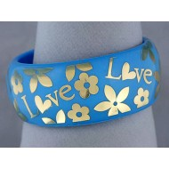 Bangle - Acrylic Bangle w/Loves &Flowers Bracelets - Blue - BR-OB00182BLU