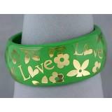 Bangle - Acrylic Bangle w/Loves &Flowers Bracelets - Green - BR-OB00182GRN