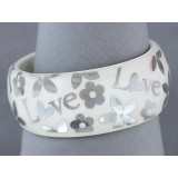 Bangle - Acrylic Bangle w/Loves &Flowers Bracelets - White - BR-OB00182WHT