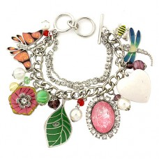 Charm Bracelet - Insect Charms - Multiple Chains w/ Toggle Closure
