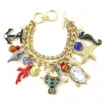 Charm Bracelet - Sea Animal Charms - Multiple Chains w/ Toggle Closure