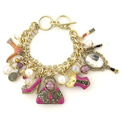 Charm Bracelet - Fashion Accessories Charms - Multiple Chains w/ Toggle Closure