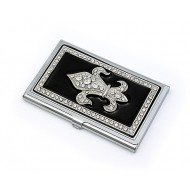 Business Card Holder - Rhinestone Fleur De Lis - Black