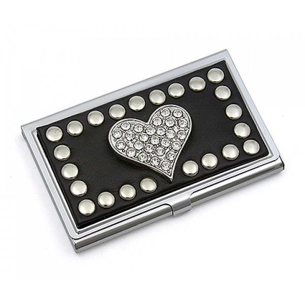 On sale 999 business card holder studded heart black ch business card holder studded heart black reheart Choice Image
