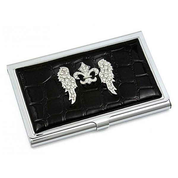 Business card holder croc embossed leather like w for Crocs fleurs