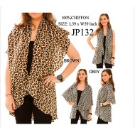 Shawl Cardigan w/ Draped Collar - Leopard Print