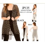Shawl Cardigan w/ Tassels - Perforated - Black
