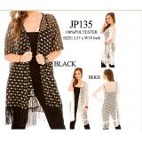 Shawl Cardigan w/ Tassels - Perforated - Black - ASH-JP135