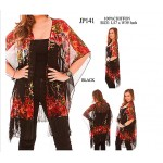 Shawl Cardigan w/ Tassels - Flowers  - Black