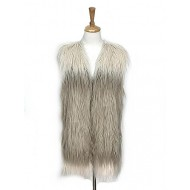 Cardigans & Vests - Faux Long Fur Vest – 2 Tones