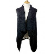 Cardigans & Vests - Knitted Cardigan - Black
