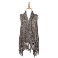 Cardigans & Vests - Knitted Cardigan with Tassels -Black