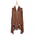 Cardigans & Vests - Knitted Cardigan with Tassels - Khaki
