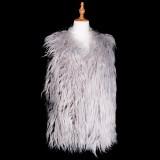 Cardigans & Vests - Faux Long Fur Vest - Grey