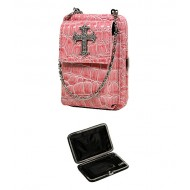 Cell Phone Pouch - Croc Embossed w/ Cross Charm - Pink - PH-HX00027PN