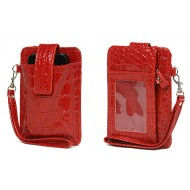 Cell Phone Pouch - Croc Embossed w/ Wristlet & ID Window Slot - Red -PH-IP4-CR-RD