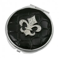 Pocket Mirror - Fleur De Lis Charm w/ Croc Embossed - MR-GM1264BK
