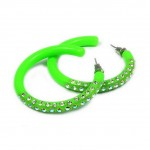 Rhinestone Post Hoops Earrings - Green - ER-21218PE