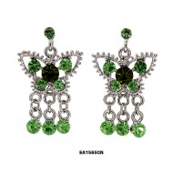 Crystal Big Butterfly w/ Danglings - Green - ER-EA1565GN