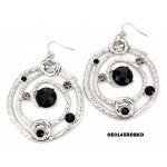 Hand Hammered Foil Look Earrings - Linear Circle w/ Black Rhinestones - ER-OE0145RD-BKD