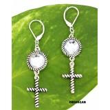 Dangling Cross Charms Earrings Antique Silver Look - ER-OE0451AS