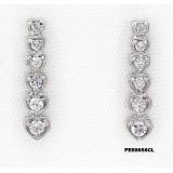 Earrings - 925 Sterling Silver w/ CZ - 6-Heart - ER-PER8656CL