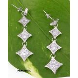 Earrings - 925 Sterling Silver w/ CZ - 4 Diamonds Shape - ER-PER8715CL