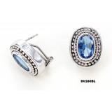925 Sterling Silver Earrings w/ CZ - Blue - ER-SV160BL