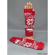 Gloves - Fingerless Snow Flack & Reindeer Print Glove - Red Color - GL-1008RD