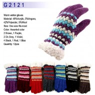 Gloves - Knitted w / Fur-Like Trim - GL-G2121