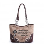 Bible Verse Western Style Bucket Bag - Brown
