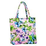 Canvas Tote w/ Tropical Flower Print - L. Pink - BG-1509LPK