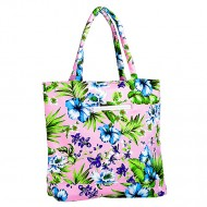 Canvas Tote w/ Tropical Flower Print - L. Pink