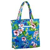 Canvas Tote w/ Tropical Flower Print - Turquoise - BG-1509TQ