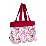 Canvas Shopping Tote w/ Flower Print - Fuchsia