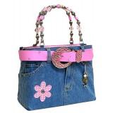 Denim Jean Purse W/ Belt & Key Chain/Flower - BG-BJ113MPK
