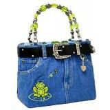 Denim Jean Purse W/ Belt & Key Chain/Frog - BG-BJ114M